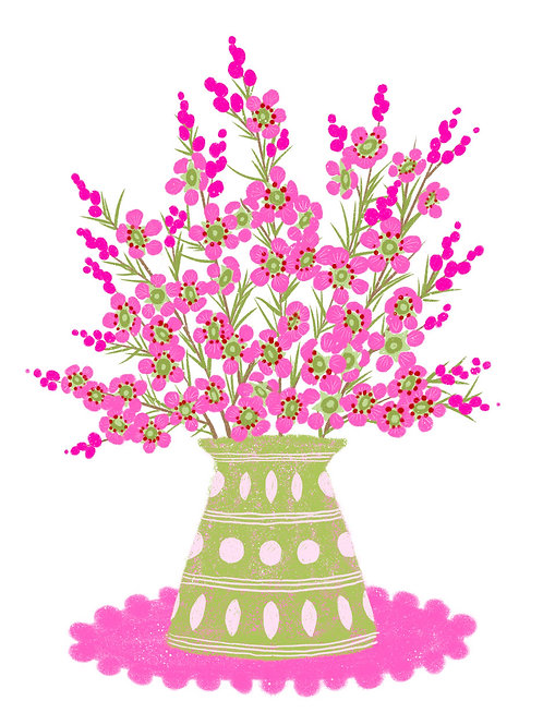 Pink Wax Flower in a Green Vase on White