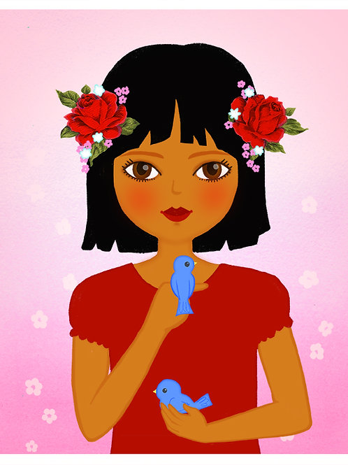 Girl with a Bluebird