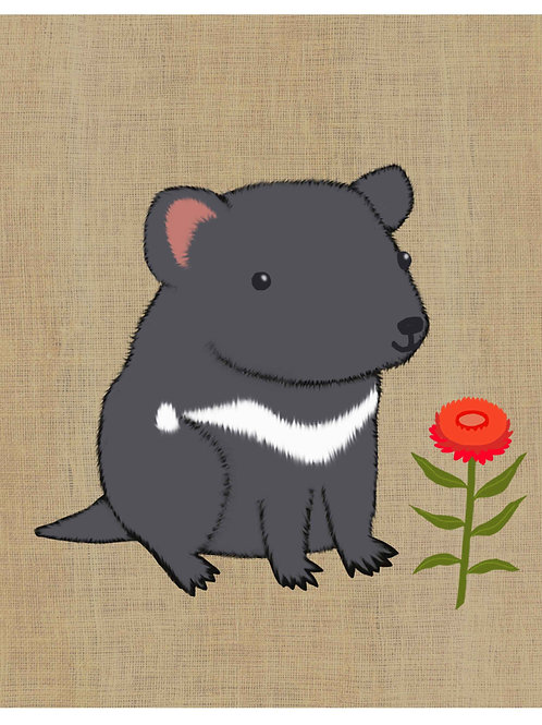Tasmanian Devil on hessian background