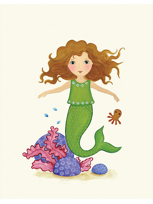 Mermaid and little octypus