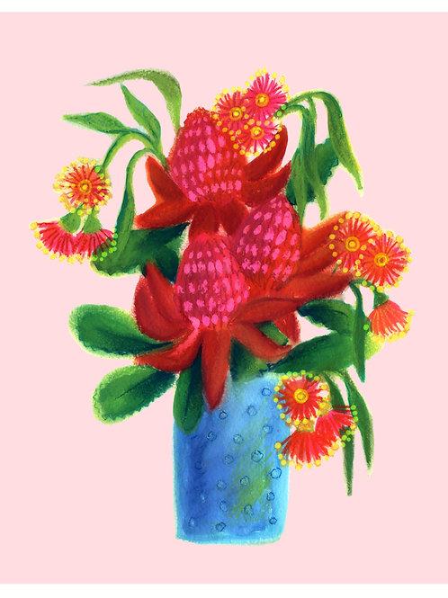 Waratah in a vase /pink