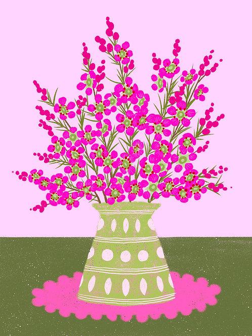 Pink Wax Flower in a Green Vase