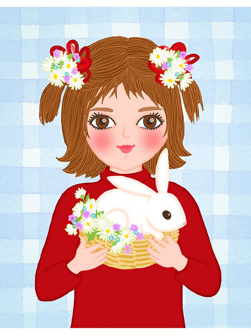 Girl and White Bunny