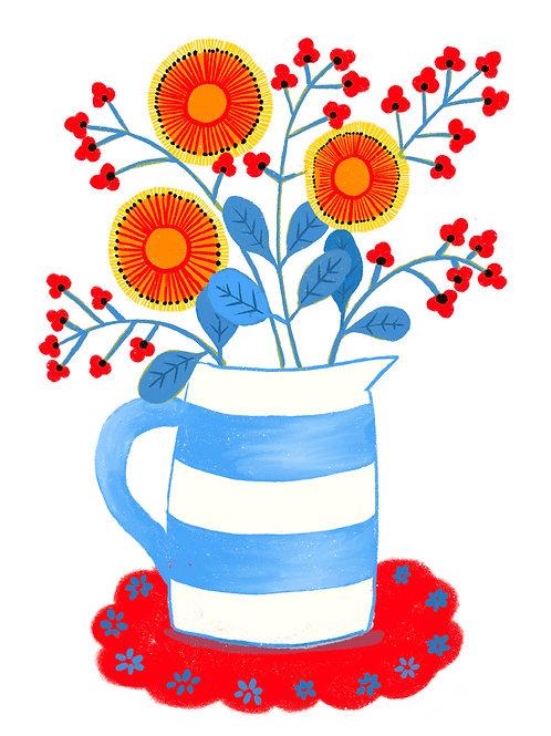 copy of Orange Flowers in a Stripey Jug on white