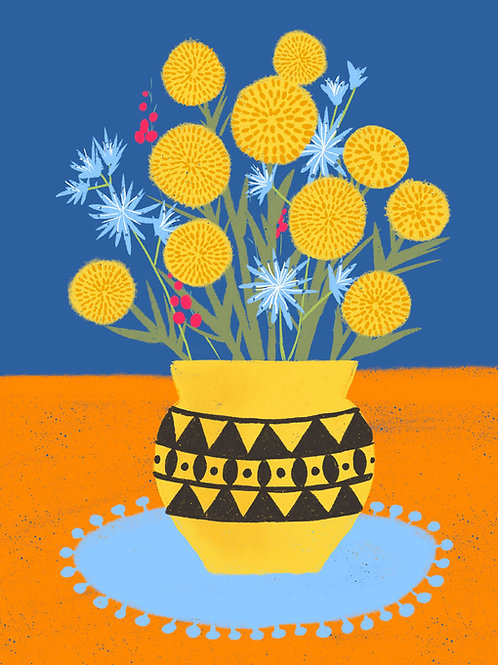Billy Buttons in a Yellow Vase