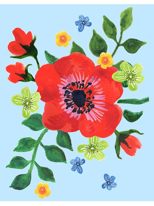 Big Red Flower on Blue