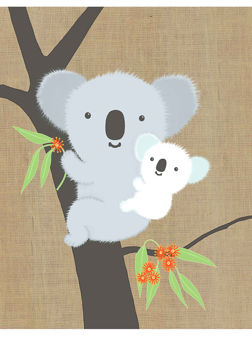 Koala and Baby on hessian background