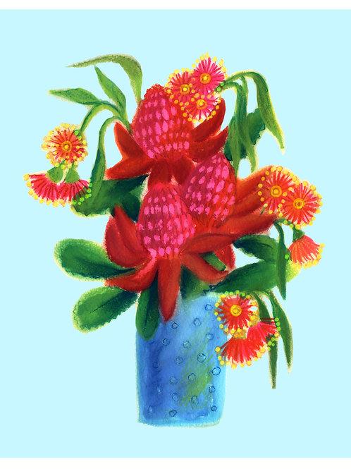 Waratah in a vase /blue