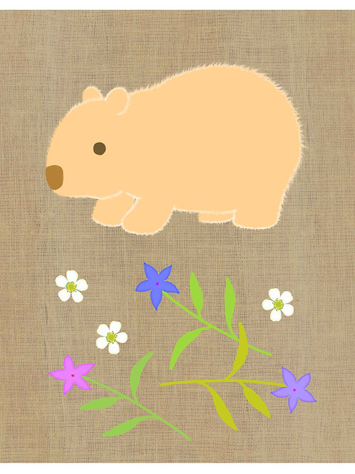 Wombat on hessian background