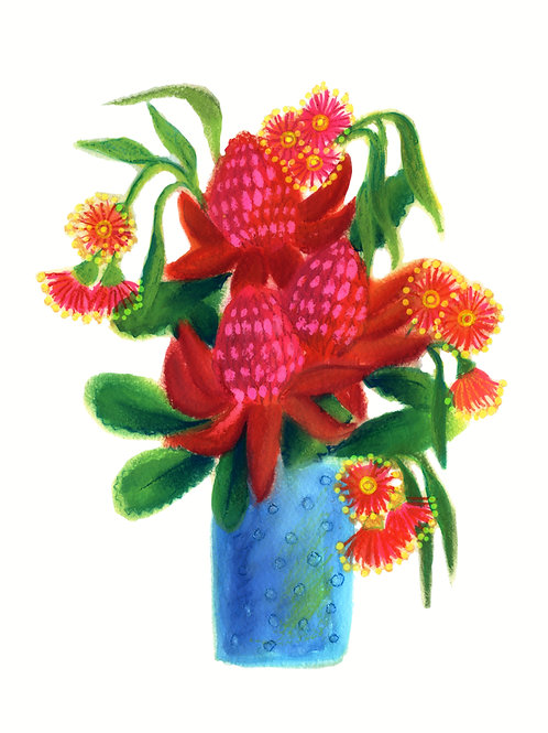 Waratah in a vase /white