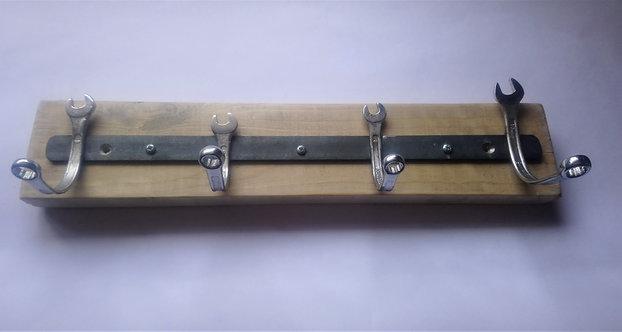 Spanner coat rack on pallet wood backing