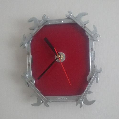 Reclaimed spanner clock in red