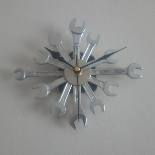 Reclaimed spanner star wall clock