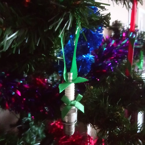 Green Christmas automotive spark plug decorations