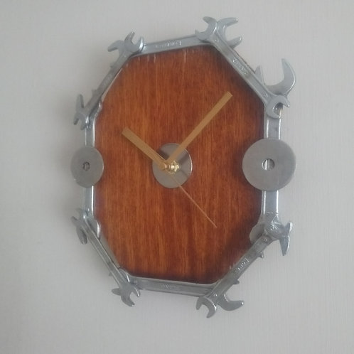 Reclaimed Spanner Wall Clock - Dark wood background