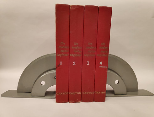 Solid brake disc book ends with motoring books