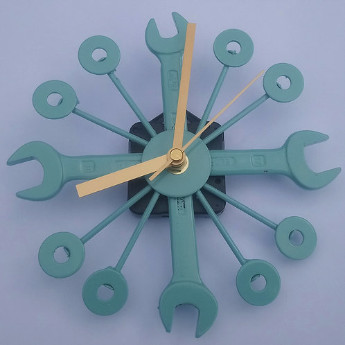 Reclaimed spanner and washer star wall clock in duck egg blue gloss