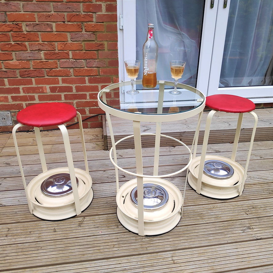 Morris Minor Wheel Drinks Table and Bar Stools - Classic Car Parts Furniture