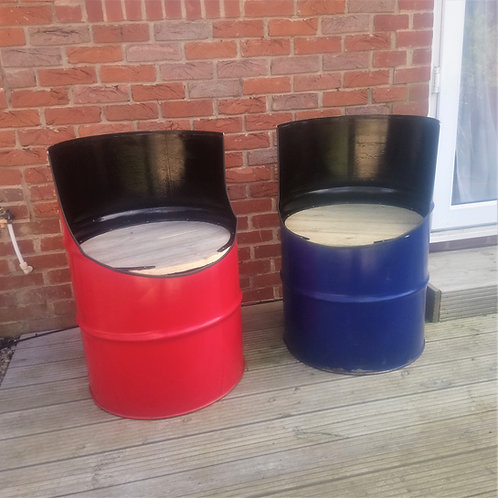 Red and blue oil barrel seats