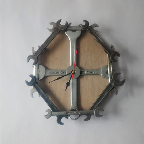 Spanner wall clock with wood background