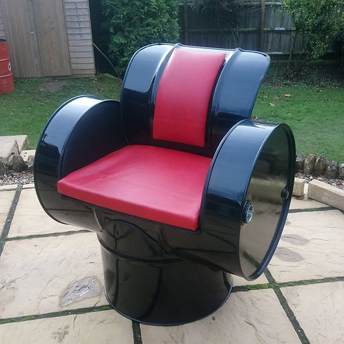 Oil barrel chair in black and red