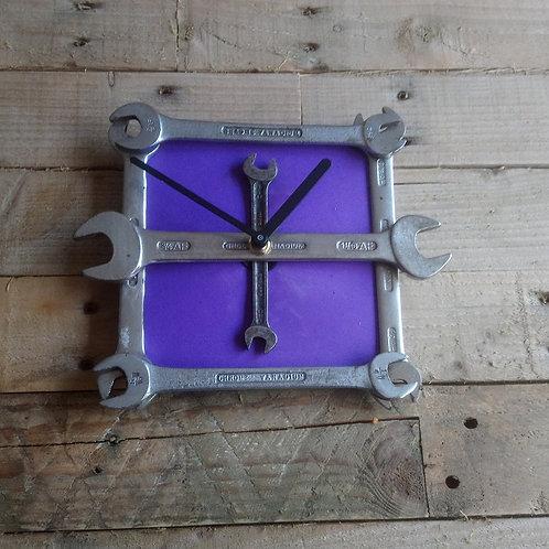 Purple reclaimed spanner wall clock