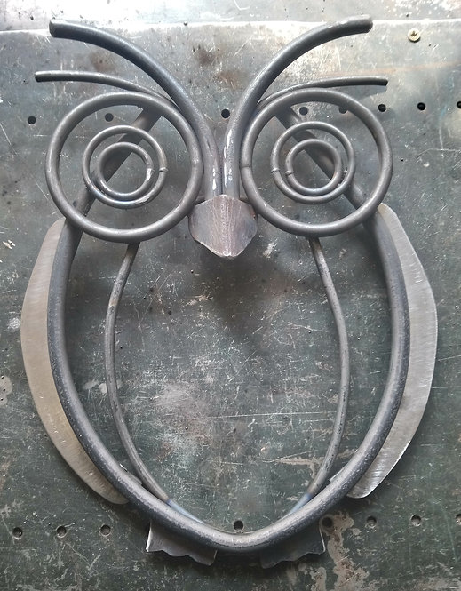 Handmade owl steel wall art