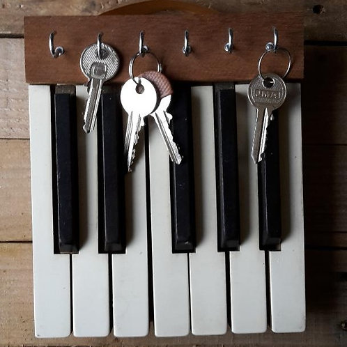 Reclaimed piano keys key rack
