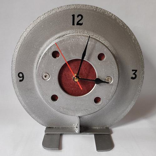 Reclaimed brake disc desktop clock - red