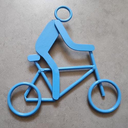 Cyclist steel wall art