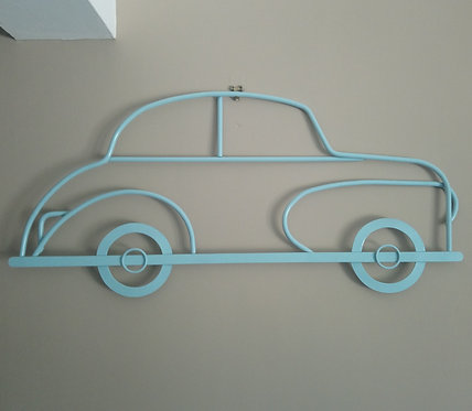 Handmade Morris Minor Saloon steel wall art in pale blue