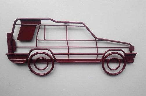 Land Rover Discovery steel wall art in red