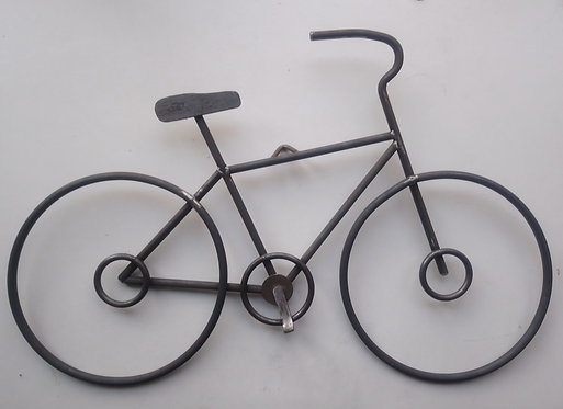 Handcrafted steel wall art bicycle