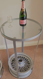 Jaguar Wire Wheel Side Table - Classic Car Parts Furniture