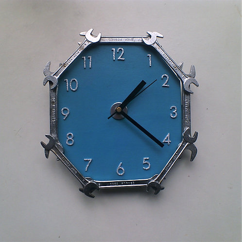 Reclaimed spanner wall clock with blue background