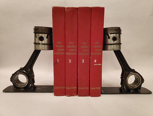 Reclaimed engine piston book ends