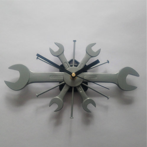 Silver spanner wall clock