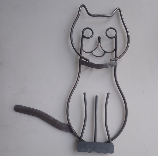 Handcrafted cat steel wall art