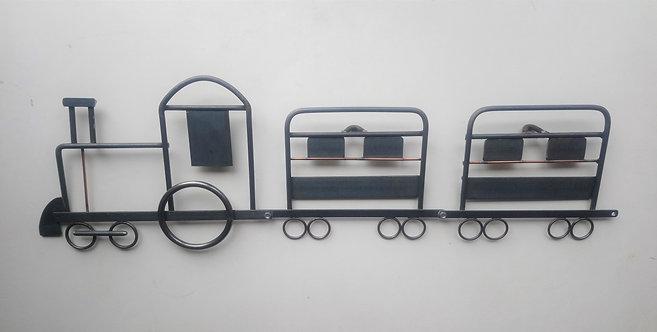 Train wall art in plain steel