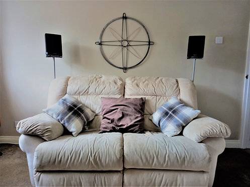 Large compass steel wall art