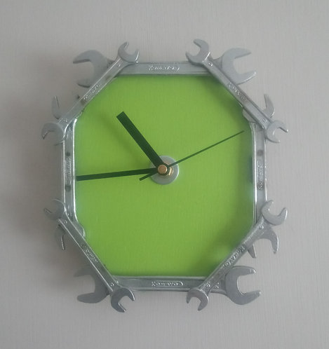 Reclaimed Spanner Wall Clock - Green background