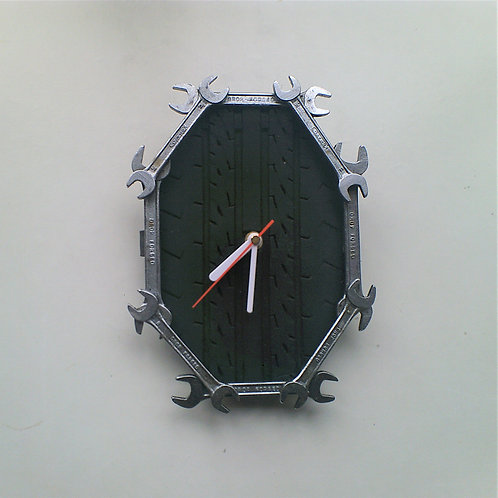 Spanner and tyre tread wall clock - Reclaimed materials