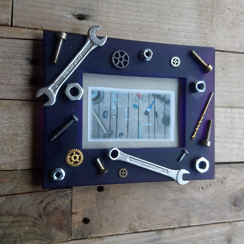Industrial chic mechanical odds and ends photo frame