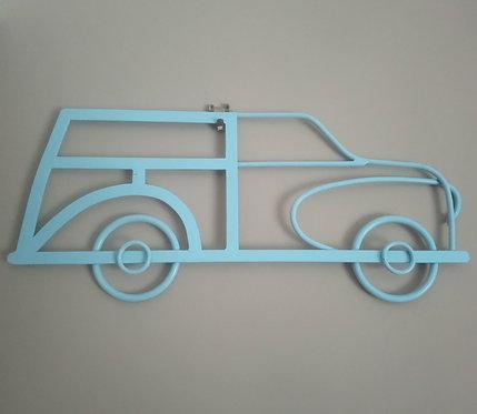 Morris Minor Traveller Steel Wall Art in Duck Egg Blue Gloss
