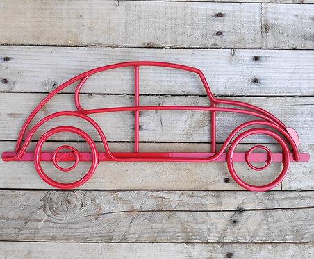 Handmade steel wall art VW Beetle in Red gloss