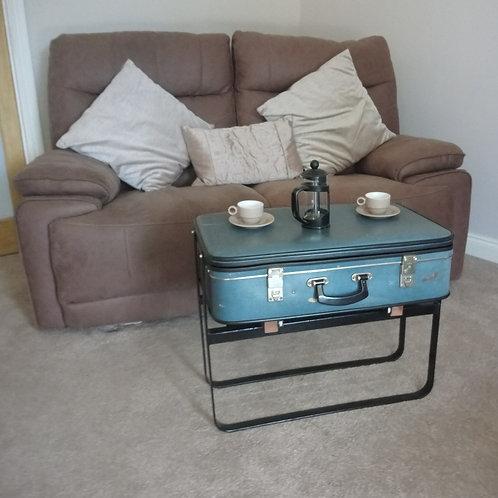 Vintage sliding suitcase coffee table
