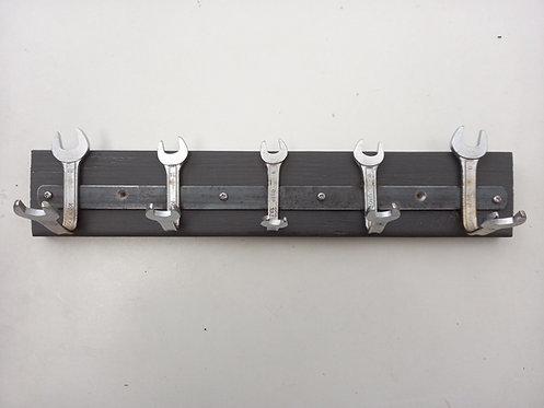 Five hook coat rack handmade from reclaimed spanners
