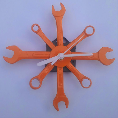 Orange spanner star wall clock