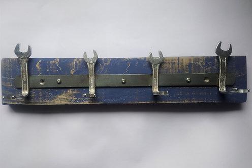 Spanner Coat Rack on Distressed Effect Blue