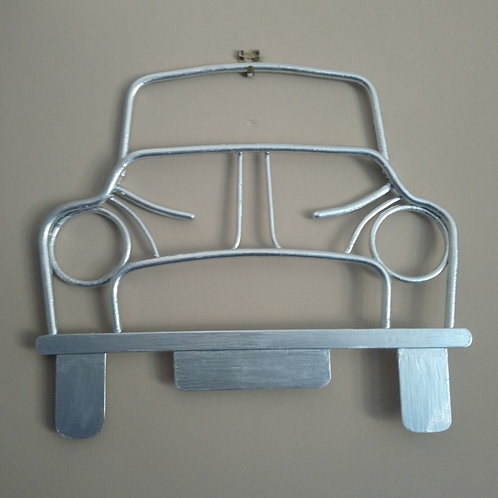 Hand crafted steel Morris Minor wall art in silver
